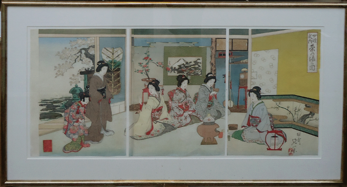 A.90 Nobukazu 'Tea Ceremony'1894. a.k.a Yosai. Triptych. Oban, Tate-e x3