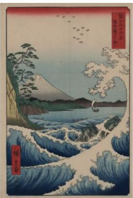 Ando Hiroshige. Giclee. Sea off Satta. From series '36 views of Mount Fuji